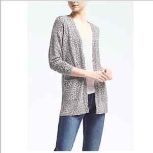 Banana Republic Leopard Marino Wool Cardigan XL